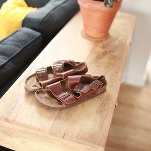 Birkenstock milano brown leather strap sandals 37